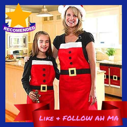 Best Selling Apron Christmas Polyester Adjustable Neck Belt Kitchen Restaurant Apron Christmas Decoration for Cooking Baking Gardening for Adults Children's (Red)