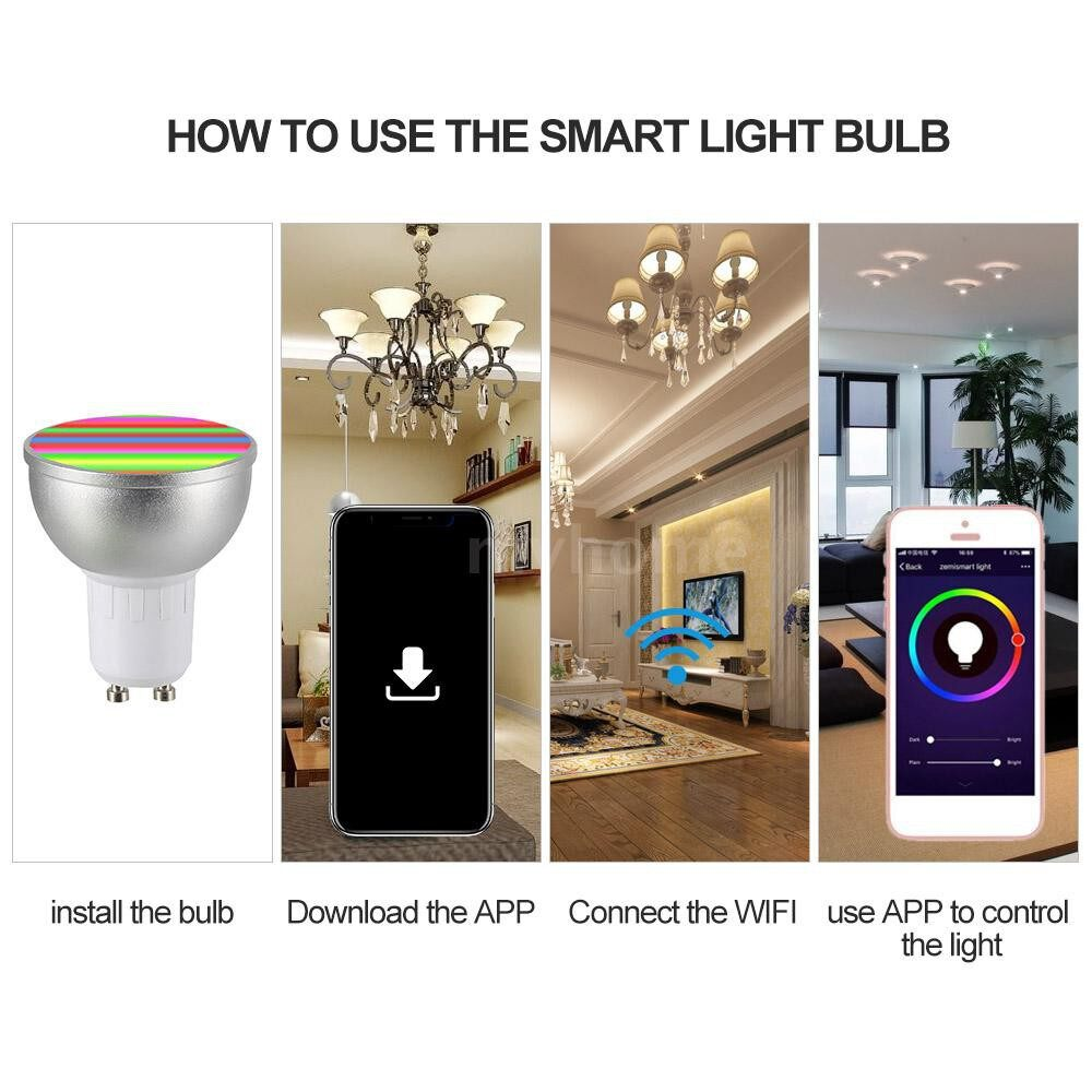 Lighting - 2 PIECE(s) AC85-265V 6W GBW WIFI Connected Intelligent Light Bulbs Supported Cell Phone APP Operated/ - 2 PIECE(s) / WHITE