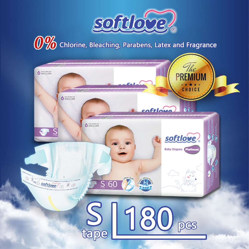SoftLove Platinum Super Combo Baby Diapers ( Tape ) / S size - 180pcs