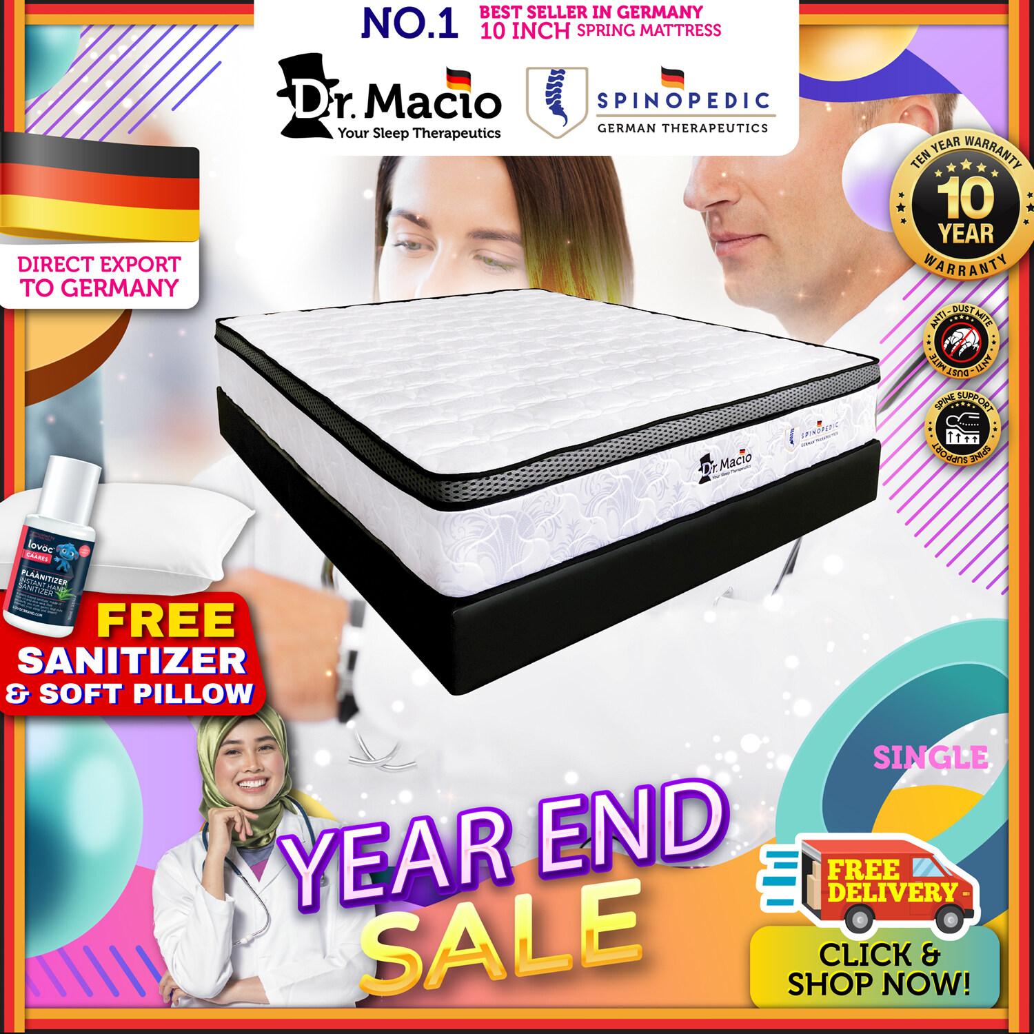 [ Free Shipping ] Dr Macio Spinopedic (Single) (Super Single) (Queen) (King) Mattress Ready Stock / Tilam Dr Macio 10 years warranty anti dustmite FREE pillow [ Fast Delivery ] [ Deliver in CMCO ]