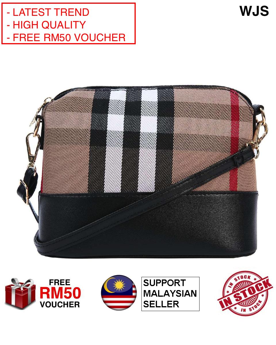 (MUST BUY - VERY POPULAR DESIGN) WJS Berberry Latest Korean Trend Women Messenger Bags Vintage Small Shell Handbag Casual Shoulder Bag Brown Khaki (FREE RM 50 VOUCHER)