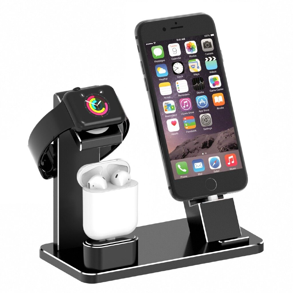 Phone Holder & Stand -Charger Dock Stand Holder For Phone Airpods Station Holder - BLACK / SILVER / DARK GREY