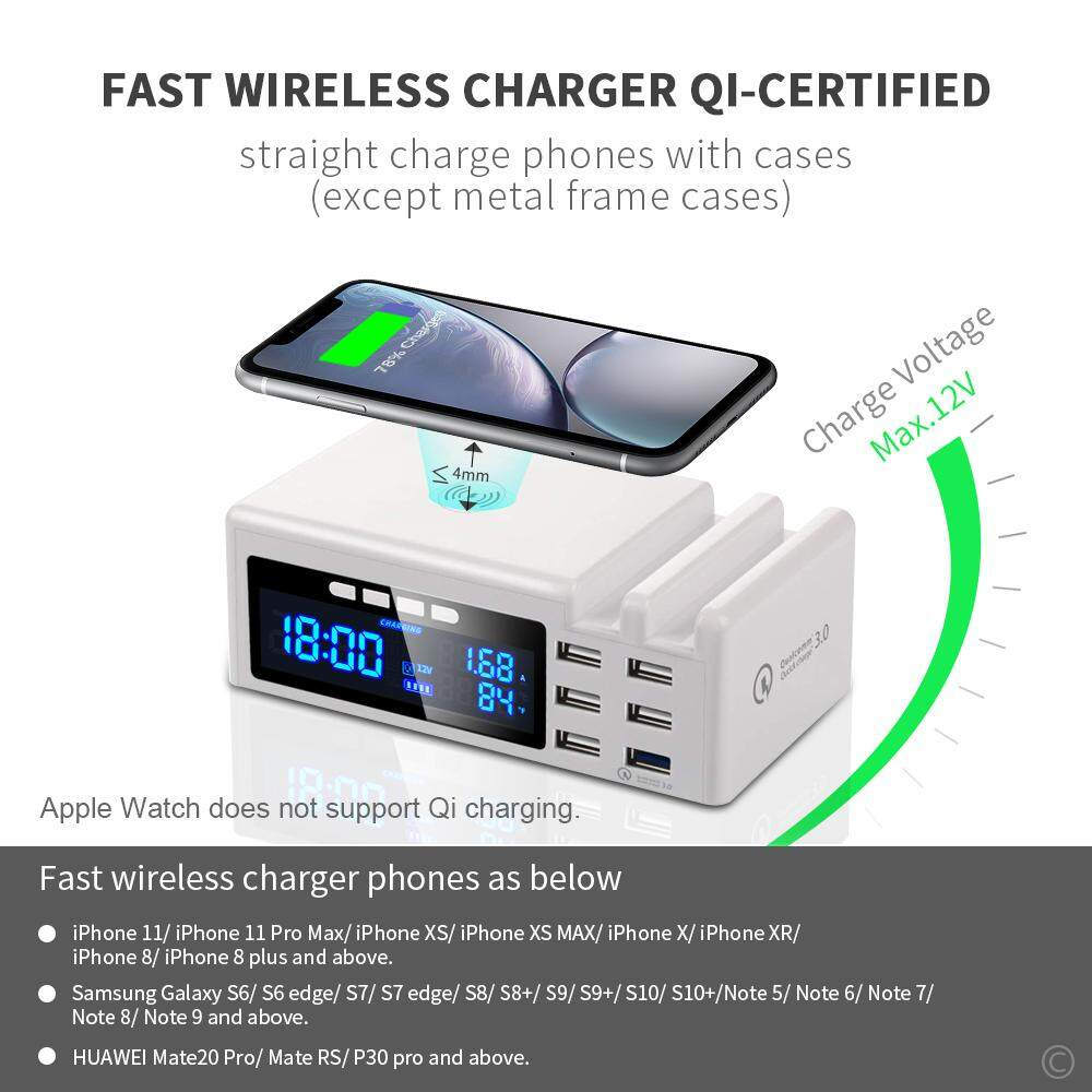 6 Port Quick Charge QC 3.0 USB Charger Wireless Charger Desktop Fast Muti USB Smart Charge For Apple Xiaomi Samsung