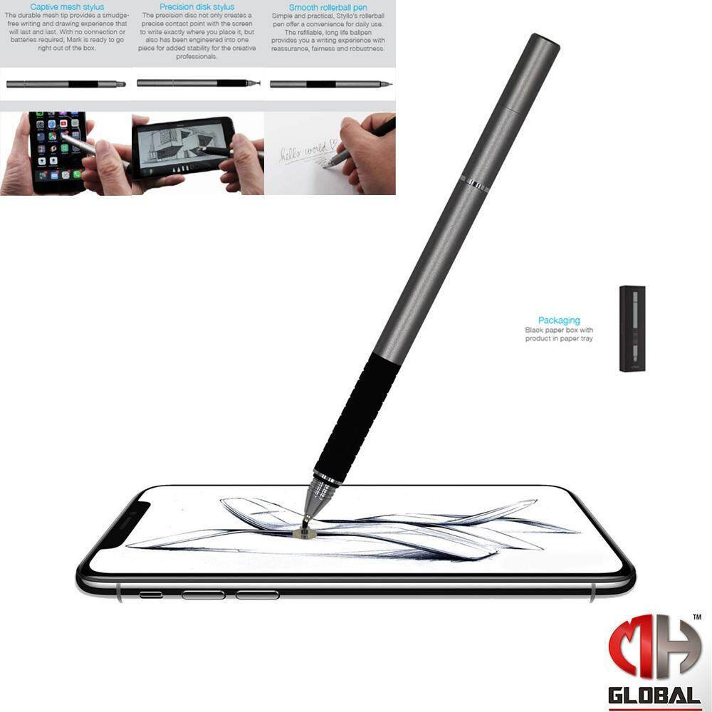 TECHGEAR 3 in 1 Mesh Stylus, Precision Disk Stylus, Smooth Roller Ball Pen Styllo