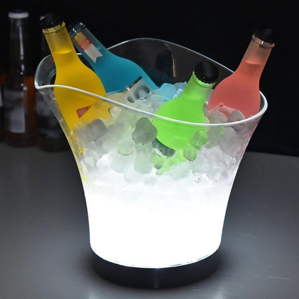 Lighting - DC3V 1W 5.5L High Big Capacity RGB LED Light Lamp Ice Bucket Icy Barrel Curve Design Yellow 4 AAA - YELLOW / WHITE / BLUE / GREEN / MULTICOLOR / RED