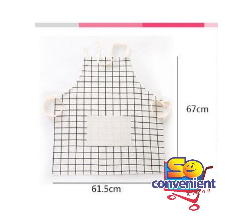 Korean style Kitchen Household Anti Oil Cotton Apron #White Plaid
