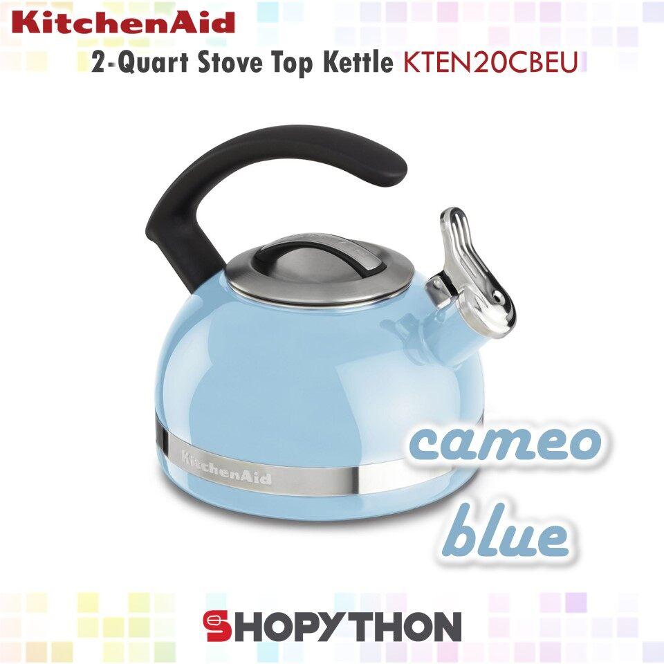 KitchenAid 2-Quart Stove Top Kettle KTEN20CBEU (Cameo Blue) Porcelain Enamel Kettles with C Handle Whistle Induction Cooking
