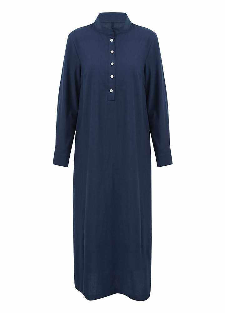 Best Selling Women Casual Long Dress Long Sleeves Side Pockets Slit Vintage Maxi Robe (Dark Blue)