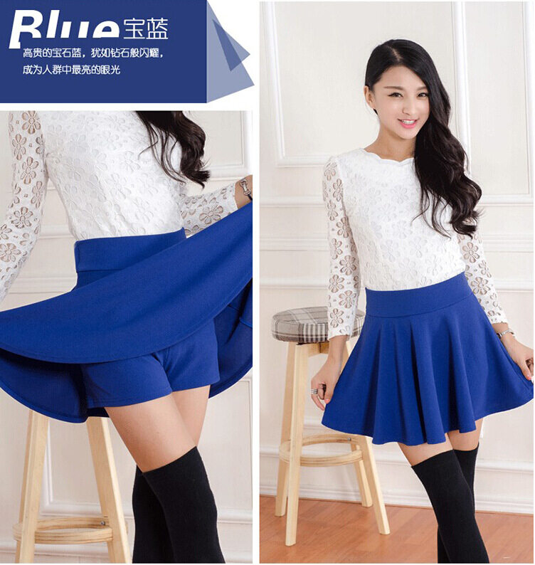 High Waist Pleated Summer Skirt, Korean Version, with Safety Pants