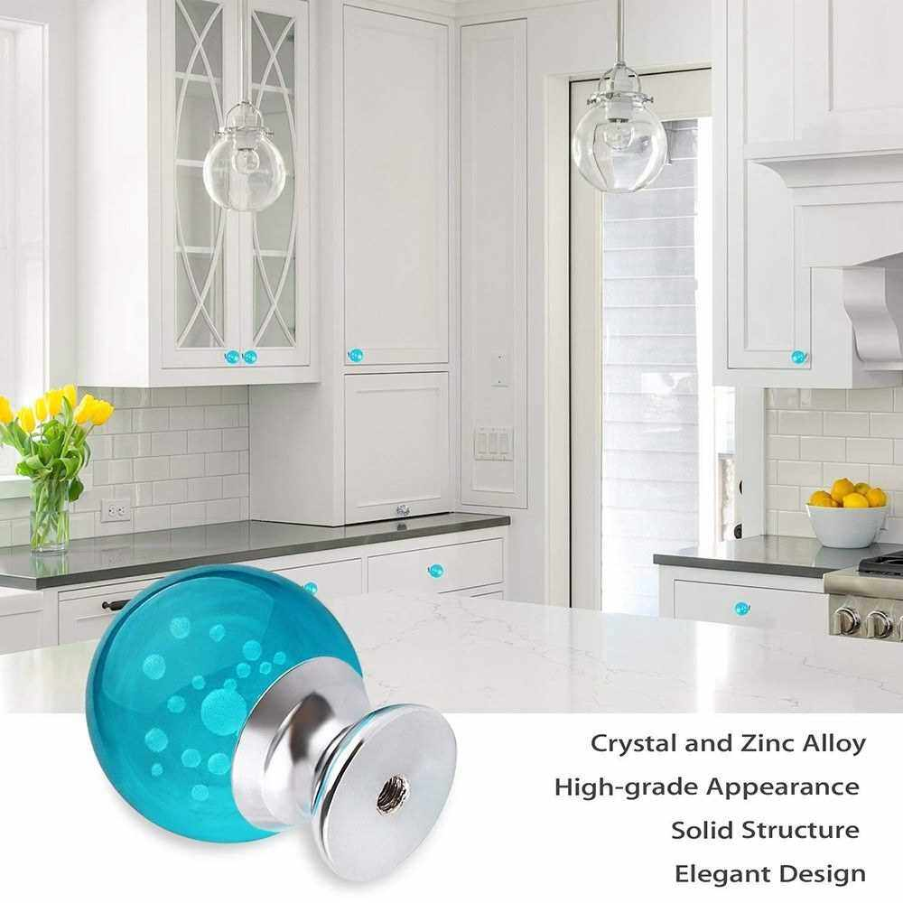 Door Handle Knob Drawer Pulls Furniture Handle 30mm Crystal Glass Aluminum Base Drawer Cabinet Door Handle Cabinet Hardware (Lake Blue)