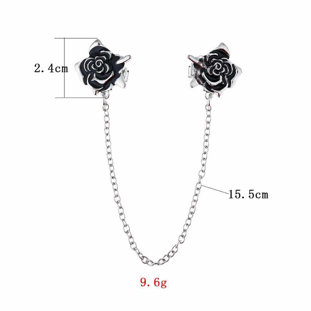 3Pcs Sweater Shawl Clips Set Retro Cardigan Collar Clips Antique Flower Pearl with Chain for Women Girls (4)