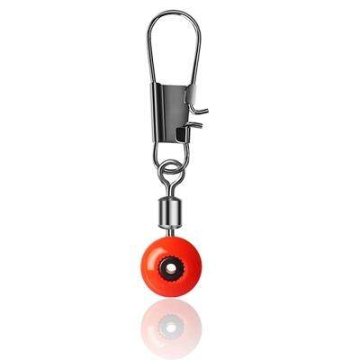 50PCS Space Beans Fishing Connector Float Rolling Swivel Fishing (RED)