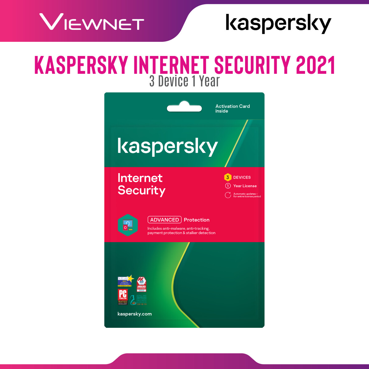 Kaspersky Internet Security 3 Device 1 Year License