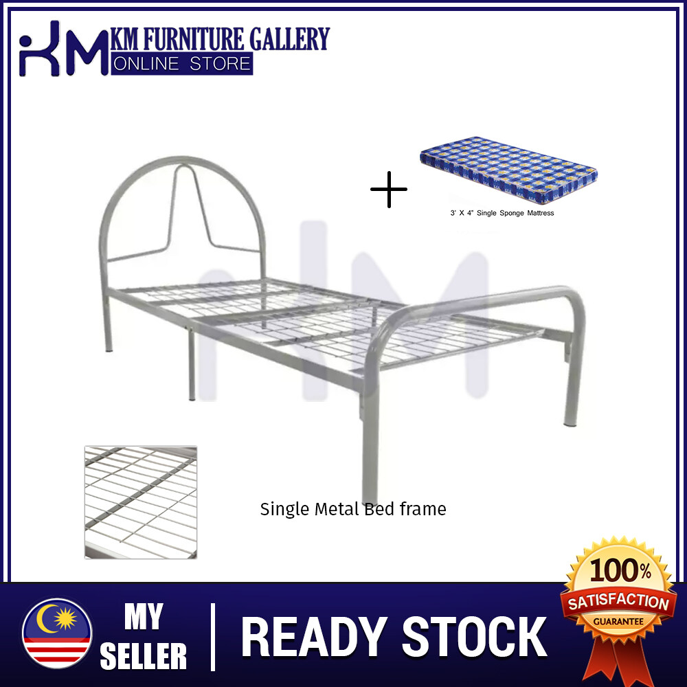 KM Furniture Gallery 2B by 3V Single Metal Bed Frame (BY-9001F) With Mattress/ Katil Bujang & Tilam KMBY9001F3X4SM