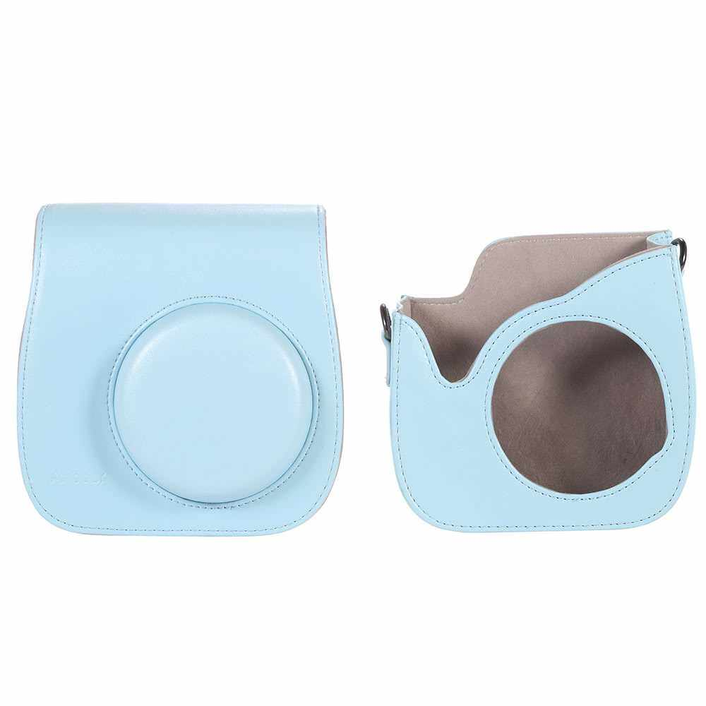 Leather Camera Case Bag Cover for Fuji Fujifilm Instax Mini8 Mini8s Single Shoulder Bag (Blue)