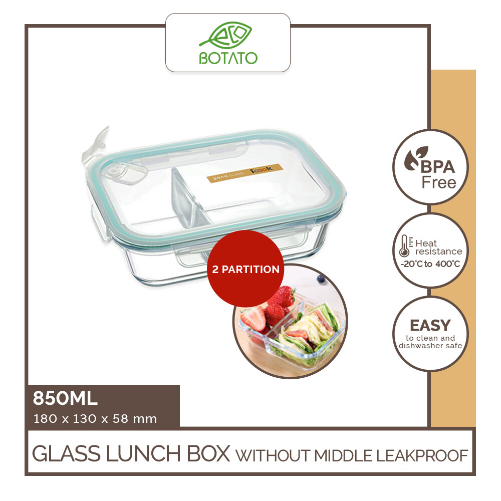 [Ready Stock][Double Wrapping Delivery] Eco.Botato GLASS LUNCH BOX without MIDDLE LEAKPROOF Microwave Freezer Save BPA Free Heat Resistant Meal Container with Partition