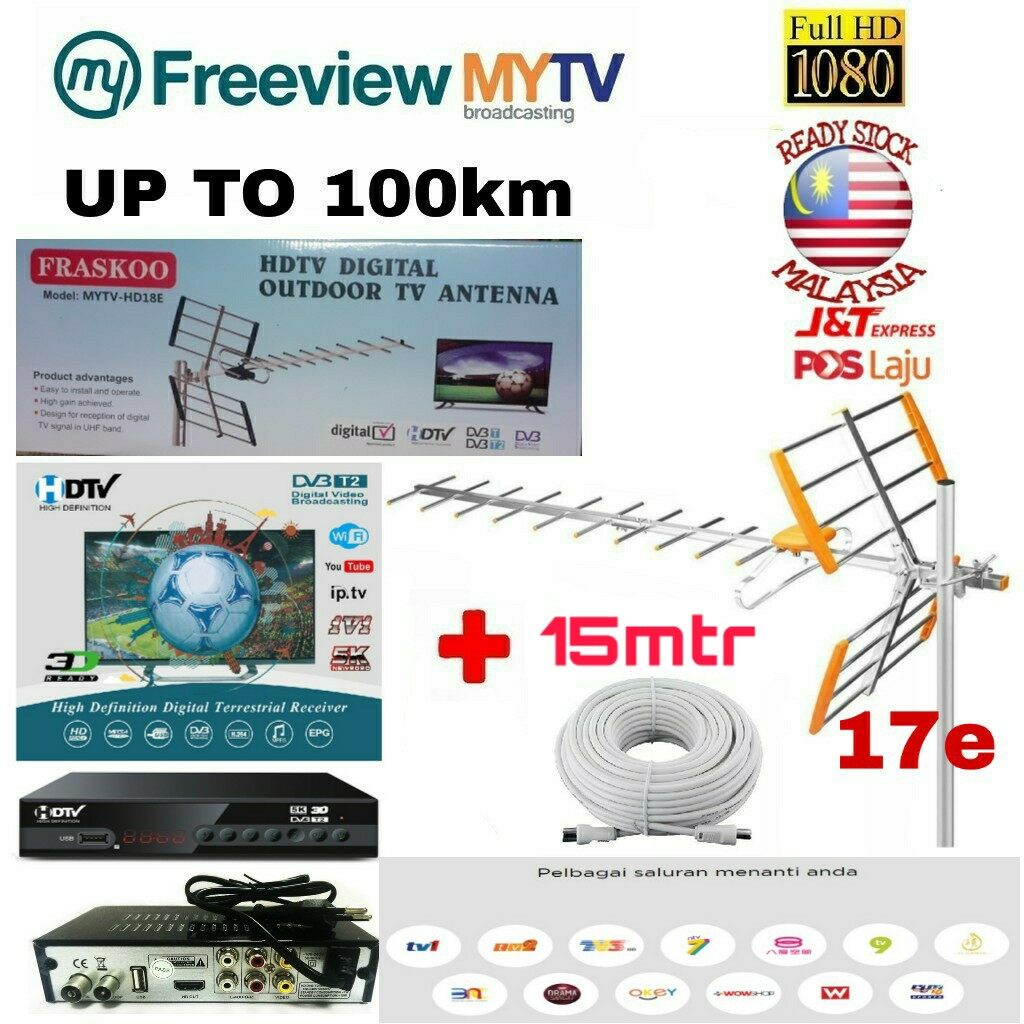MYTV Myfreeview HDTV DVB T2 MYTV DIGITAL TV DECODER with 17 Element UHF MYTV HD9E Antenna with 15m Cable