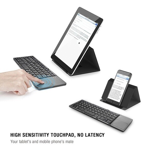 Universal Foldable BLUETOOTH Keyboard With Touchpad USB Charging WIRELESS Keyboard For IOS Android - WHITE / BLACK