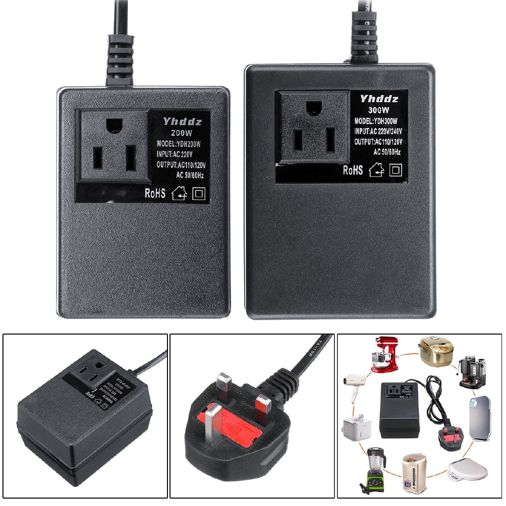 Chargers - Voltage Converter 220V To 200W/300W Transformer Step Down Travel UK Plug - 200W / 300W