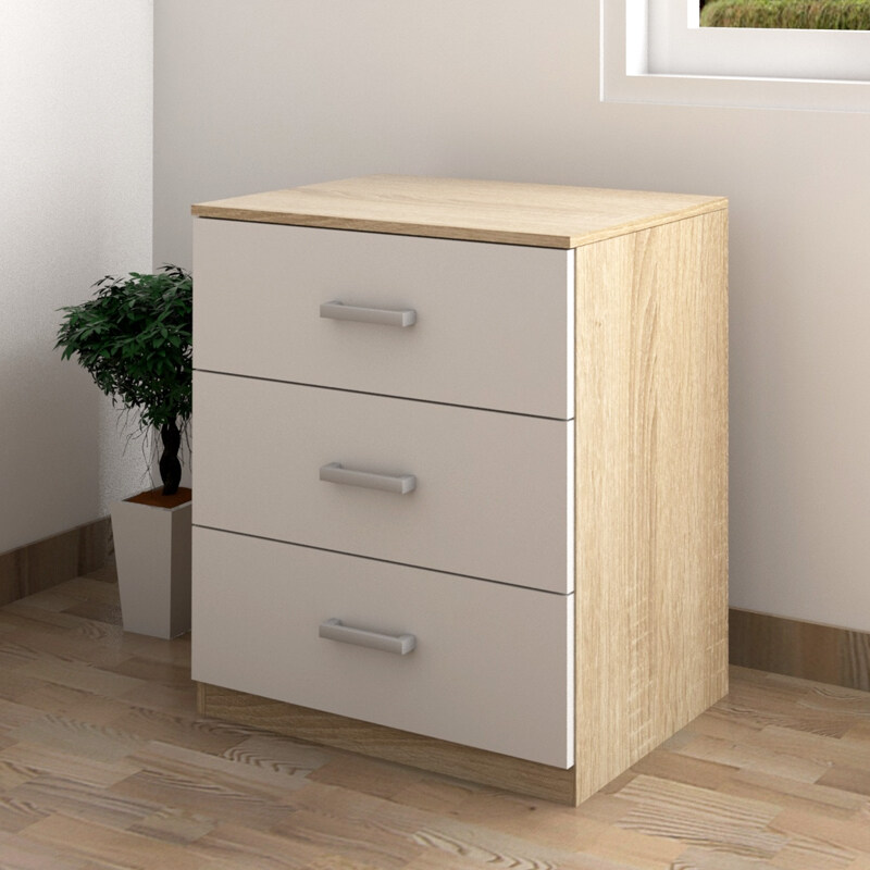 MEMPHIS 3 DRAWER CHEST DRAWER 3 COLOR - WHITE/WENGE/WHITE+OAK