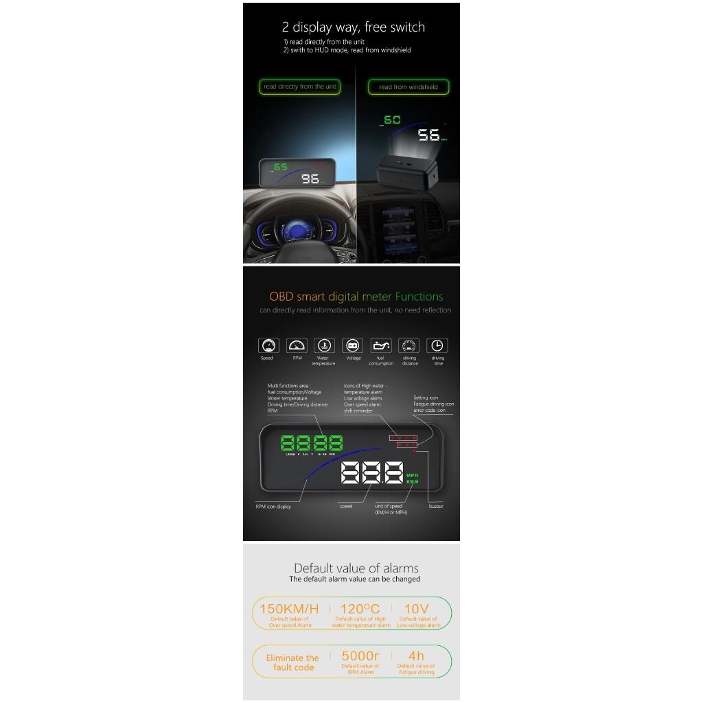 Car Electronics - P9 OBD Smart Digital Meter Head Up Display Car Styling HUD Speedometer - Automotive