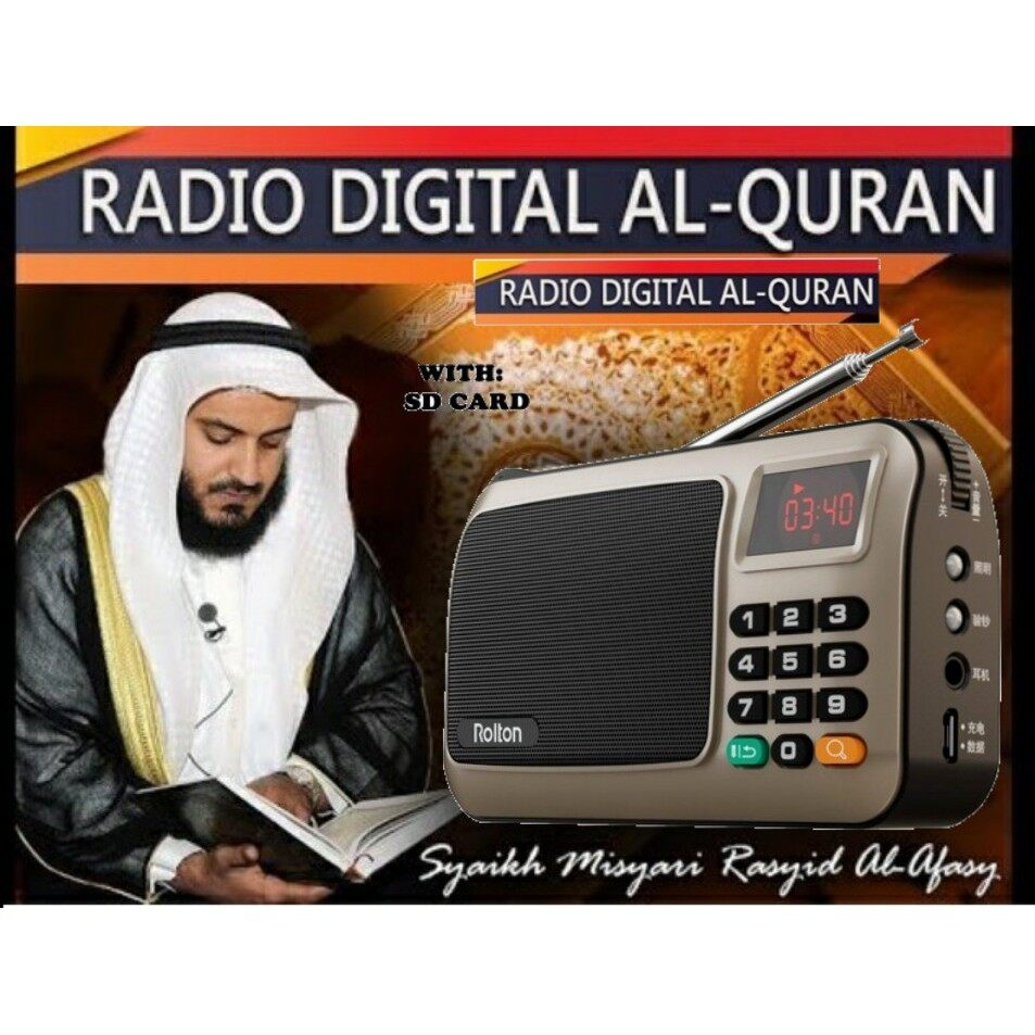 [Gold] Rolton W405 Rechargeable Digital FM AM Portable Pocket Radio Al-Quran With USB TF Card