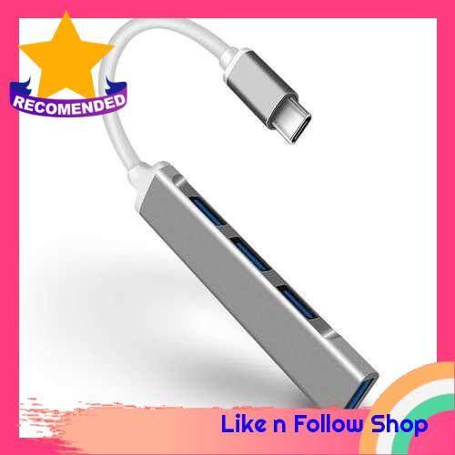 4-in-1 Multifunctional Type-C Hub Type-C to USB3.0 USB2.0 Hub USB3.1 Adapter Converter Aluminum Alloy Hub for PC Laptop Grey (Grey)