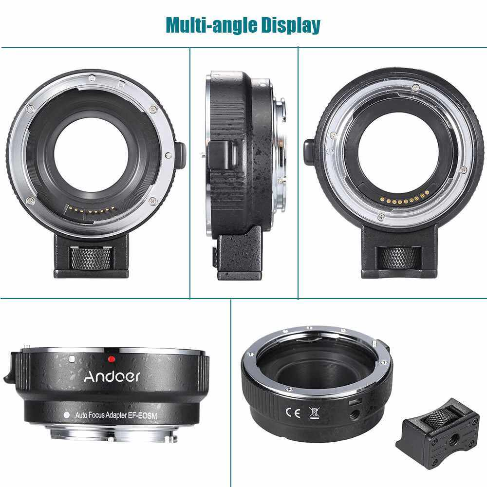 Andoer EF-EOSM Lens Mount Adapter Support Auto-Exposure Auto-Focus and Auto-Aperture for Canon EF/EF-S Series Lens to EOS M EF-M M2 M3 M10 Camera Body Support Image Stability (Standard)