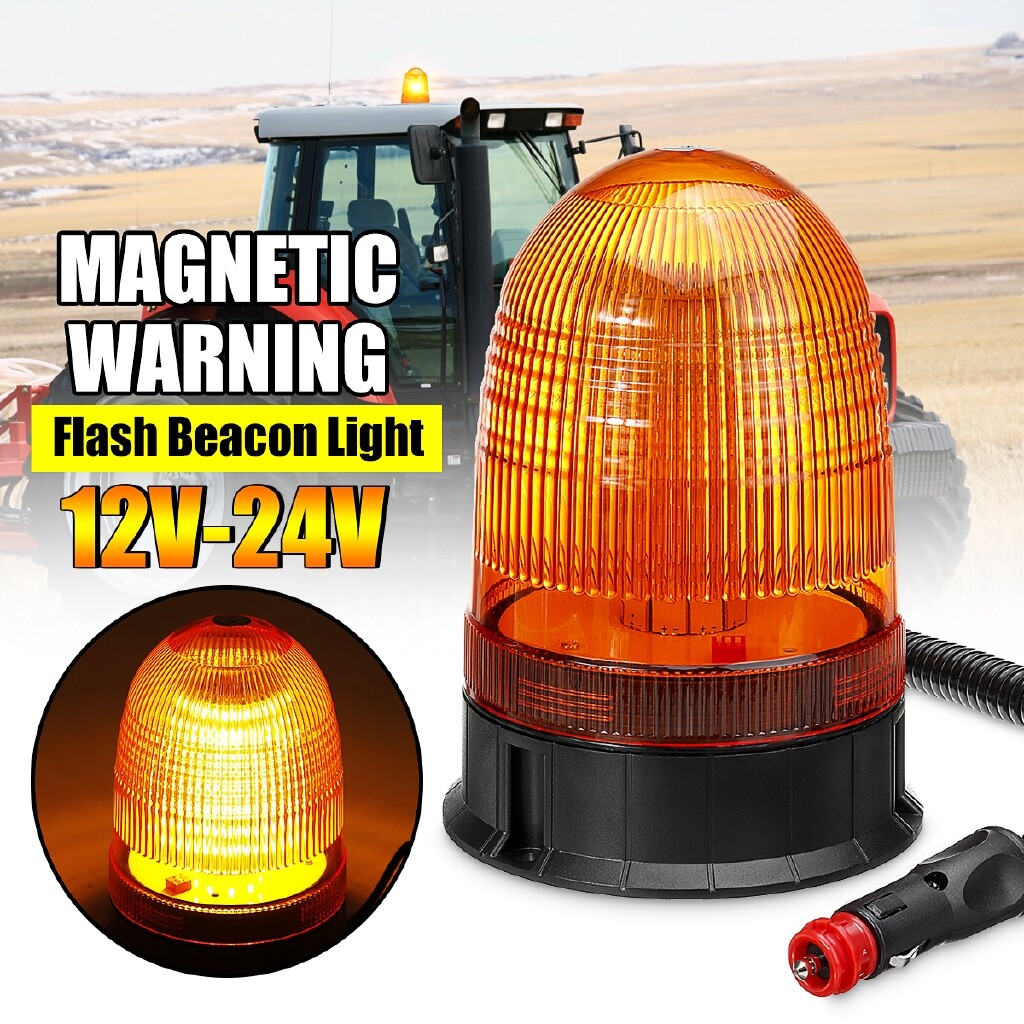 Car Lights - 80 LED 12V-24V Roof Magnetic Rotating Flashing Beacon Strobe Warning Light Amber - Replacement Parts
