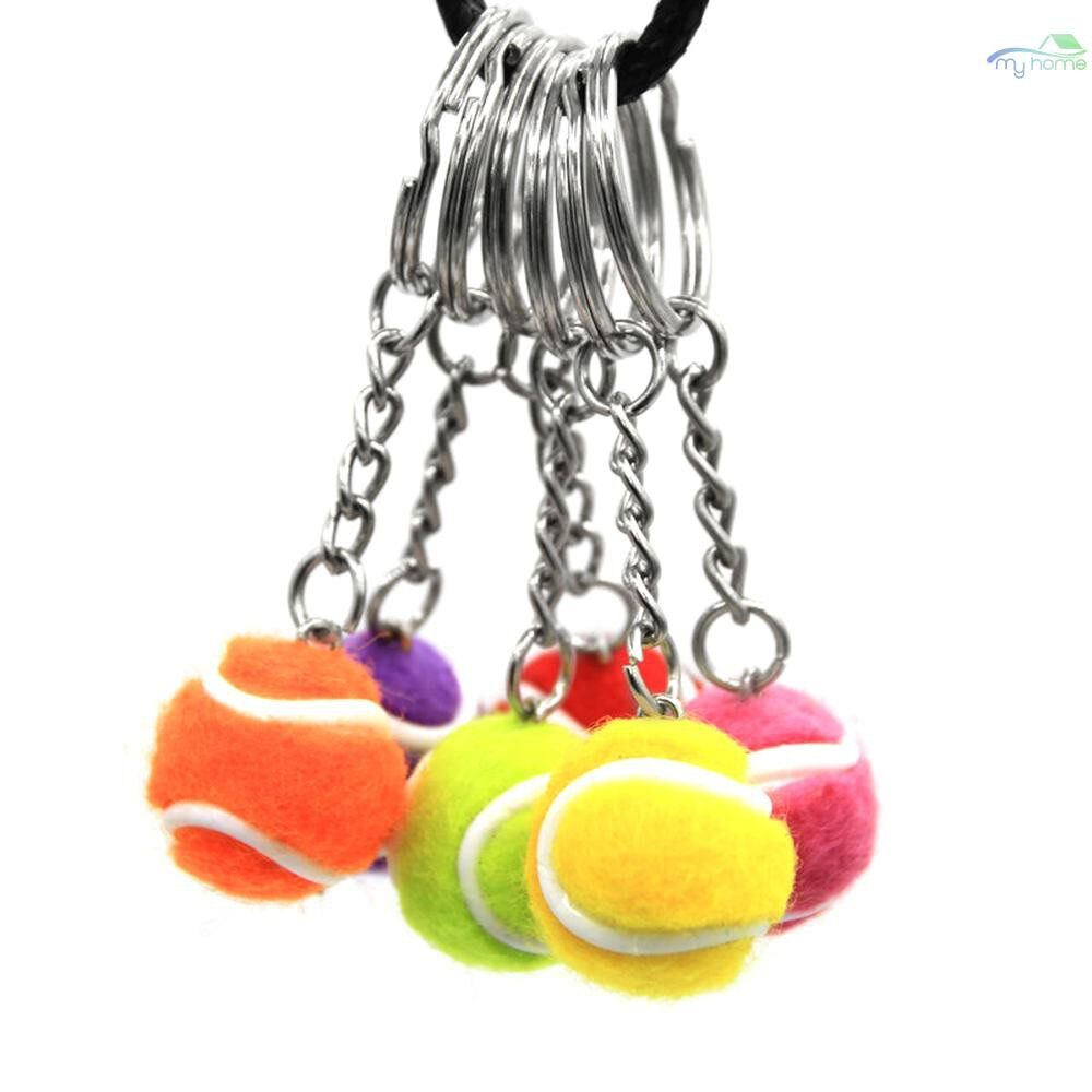 Stick & Ball Games - MINI Tennis Ball Key Chain Key Ring Decoration Accessory Gift for Sport Fans - RED-2CM / PURPLE-2CM / YELLOW-2CM / PINK-2CM / ORANGE-2CM / GREEN-2CM