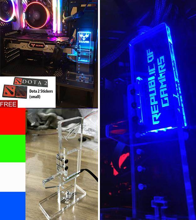 Anti Bend Vertical GTX AMD Graphic Card Supporter Holder GPU holder Decoration Board (RED/ BLUE/ GREEN/ WHITE/ RGB AURA)