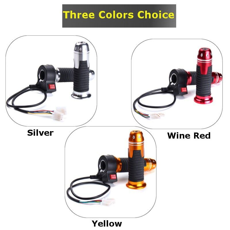 Moto Accessories - 12V 24V 48V Universal Electric Scooter Bike Adjustable Throttle Grip Handlebar - YELLOW / SILVER / WINE RED