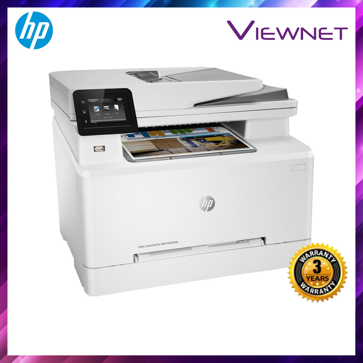 HP Color LaserJet Pro MFP M283fdn PRINT SCAN COPY FAX NETWORK WIRELESS 3 Years Onsite Warranty with 1-to-1 Unit exchange **NEED TO ONLINE REGISTER**