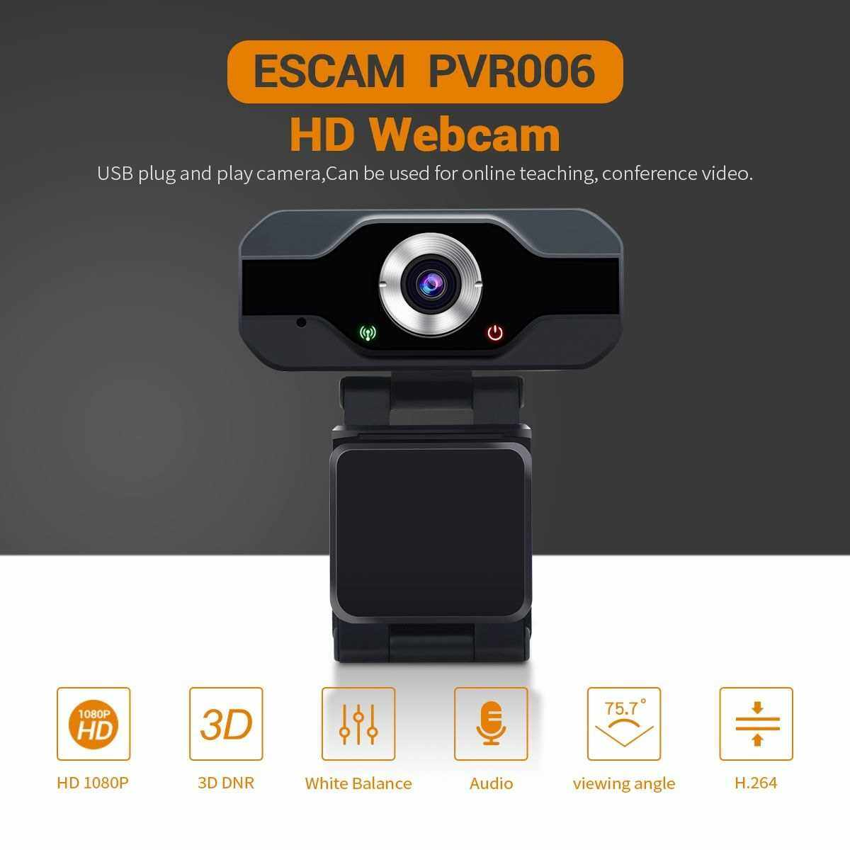 1080P HD Webcam with Microphone PC Laptop Desktop USB Computer Camera for Live Streaming Video Calling, Online Teaching, Conferencing Video, Gaming.Web Camera with Rotatable Clip (Standard)