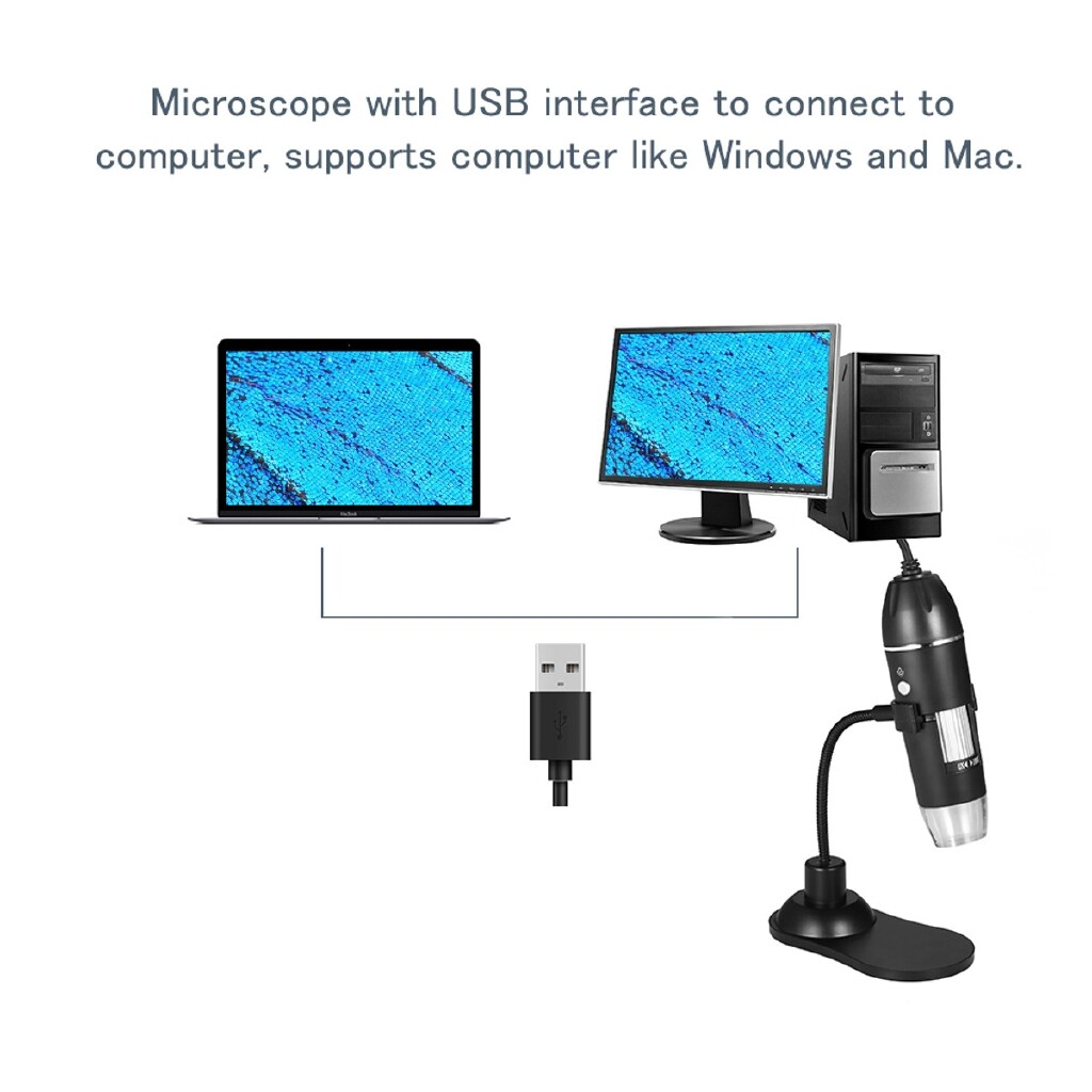 Phone Holder & Stand - USB Multipurpose 50X-1000X Magnification Digital Zoom Microscope 300000P Camera Stand - Cases Covers