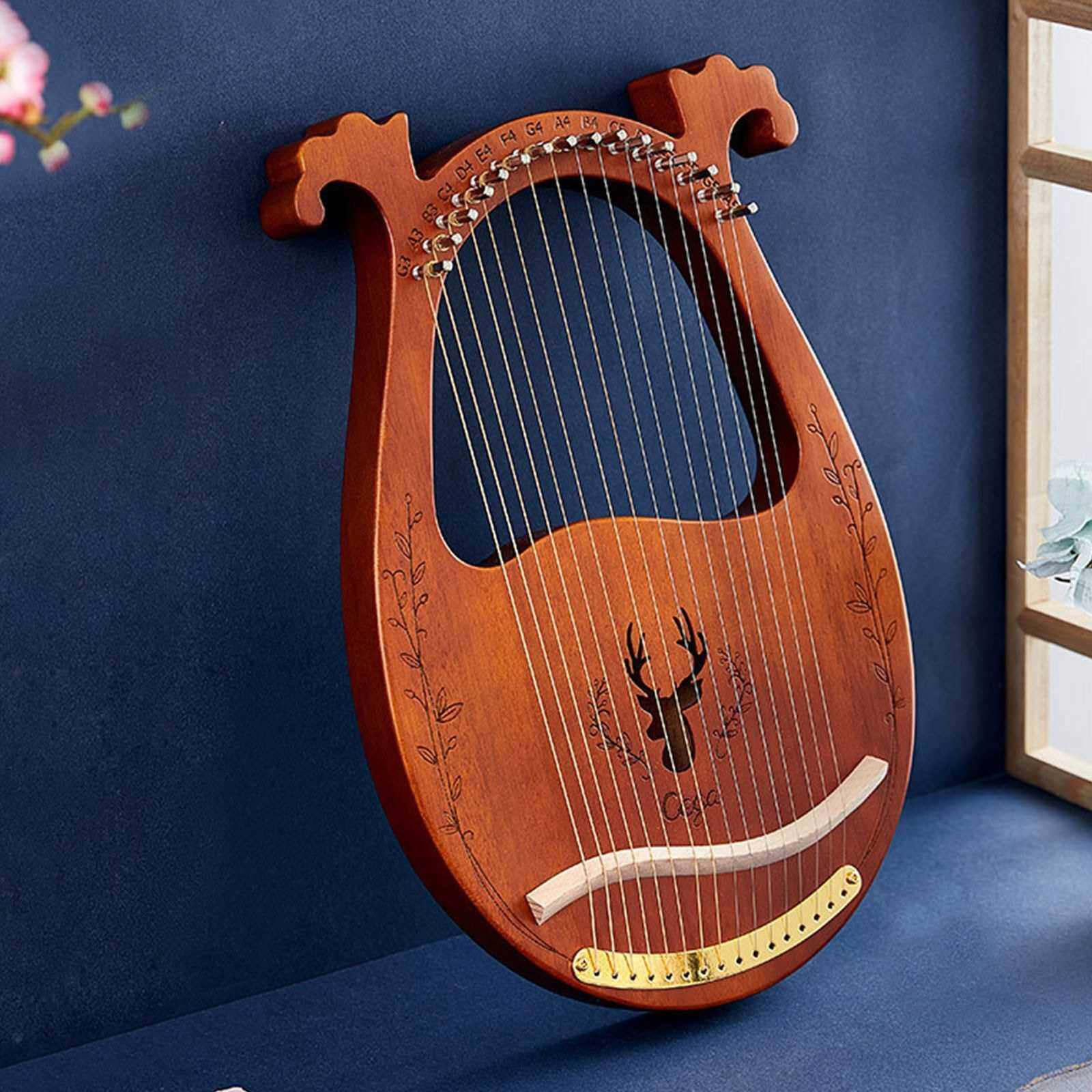 16-String Wooden Lyre Harp Resonance Box String Instrument with Tuning Wrench 3pcs Picks (Coffee)