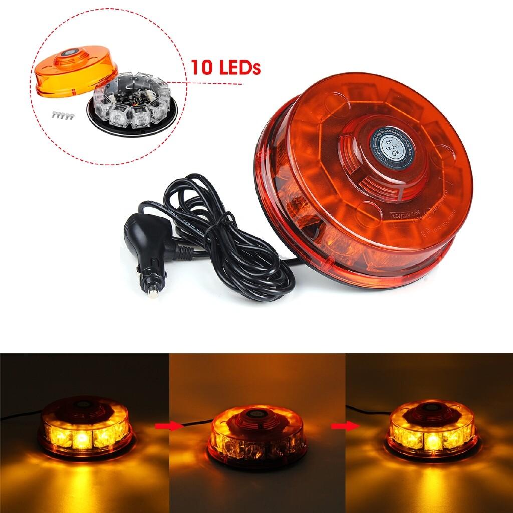 Car Lights - 12V 24V 10LEDs Truck Warning Light Strobe Flashing Beacon Magnetic Lightbar Amber Tractor Lamp - Replacement Parts