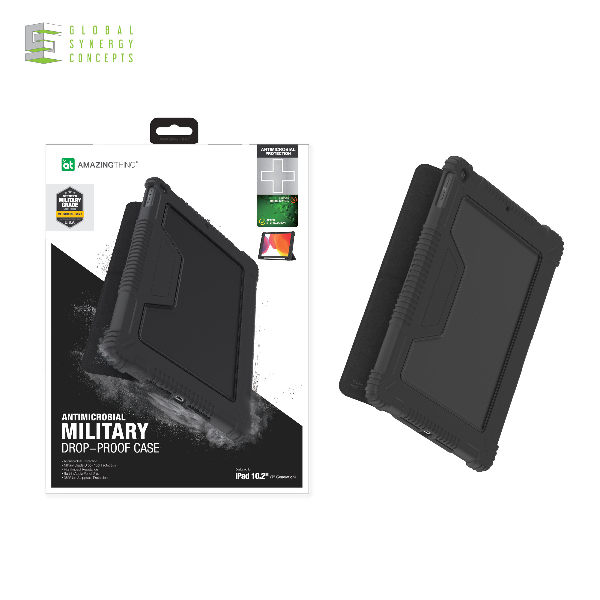 AMAZINGThing Anti-bacterial protection MIL Drop-proof Folio Case for iPad Air 10.9 inch