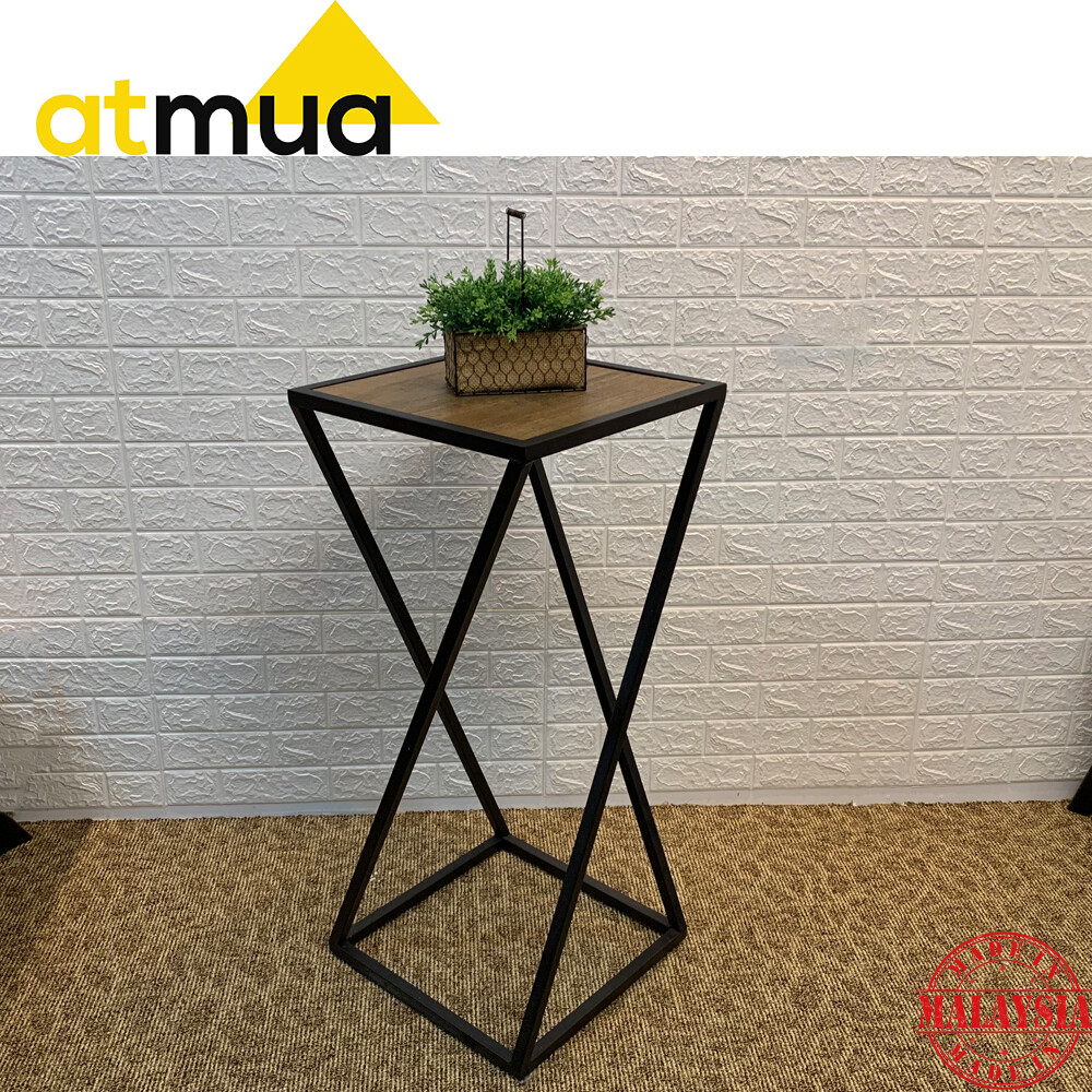 Atmua Avenger Side Table Industrial Style End Table Solid Wood Small Table Retro Design *Fully Set Up Side Table (Height: 90cm)