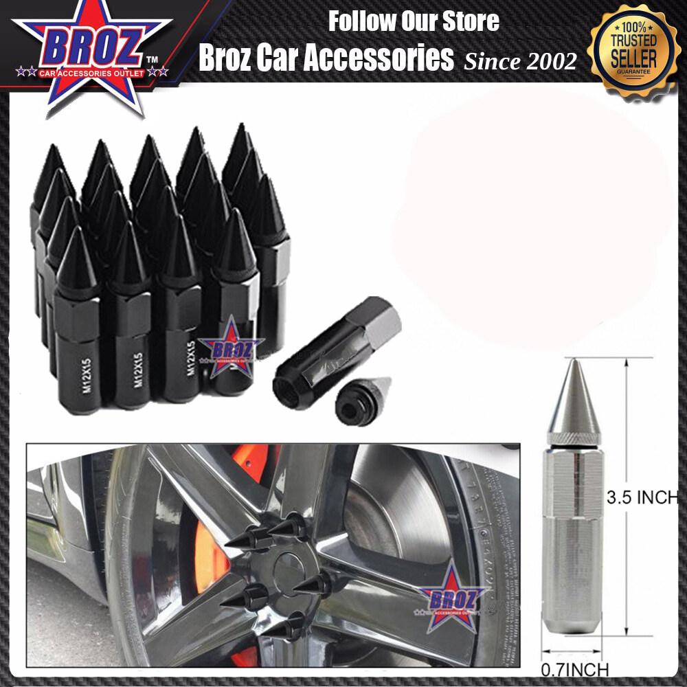 Broz High Quality Aluminum Universal M12 x P1.5 Wheel Nut - Black (20PCS)