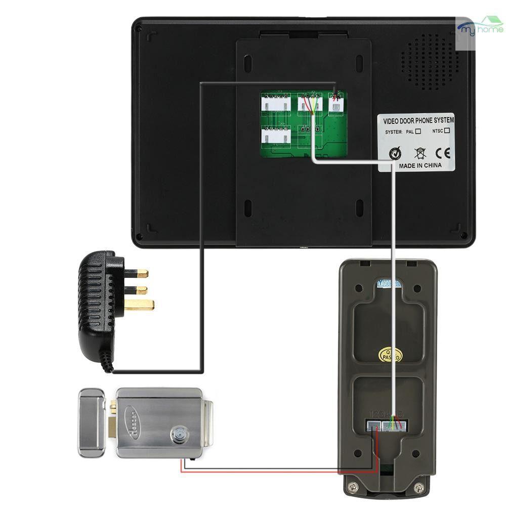 DIY Tools - 7 Wired Video Door Phone System Visual Intercom Doorbell Alloy Panel with 1800x480 Indoor - Home Improvement