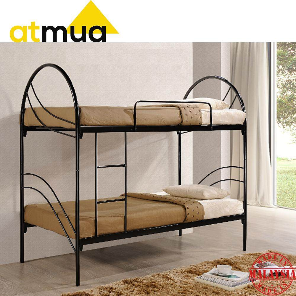 Atmua Karen Bunk Bed Double Decker Single  Size Double Decker Metal + Wood Bed Strong & Sturdy *Easy Install  / Katil Besi ( Super Base ) Can Split into 2 Single Bed
