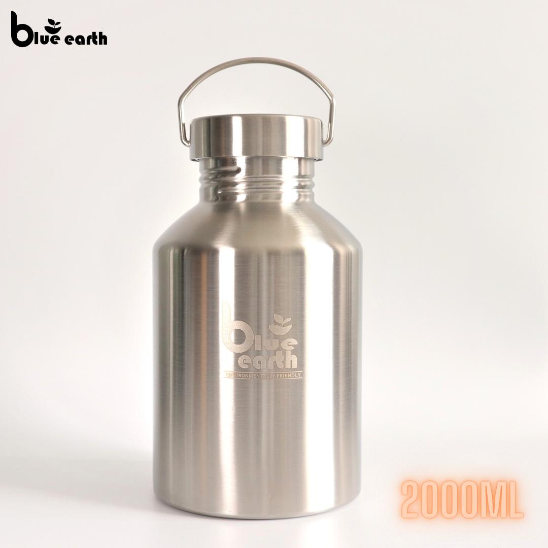 Blue Earth 304 Stainless Steel Water Bottle 2000ml Single Wall drinking bottle Ready Stock