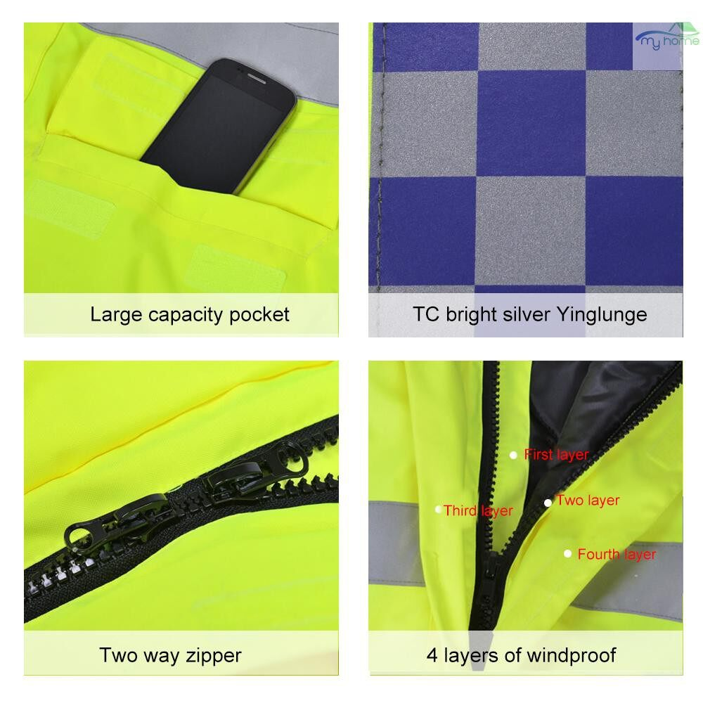 Protective Clothing & Equipment - SFVest High Visibility Reflective Waterproof Rain Jacket Rainwear Coat Luminous Safety Raincoat - YELLOW-XXL / YELLOW-XL / YELLOW-L / YELLOW-M