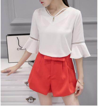 Korean Office Casual Lady Flare Sleeve Pure Color Chiffon Blouse
