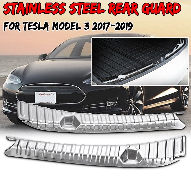 Car Lights - 2 PIECE(s) Car Stainless Rear Trunk Bumper Guard Protector Rubber for Tesla Model 3 - Replacement Parts