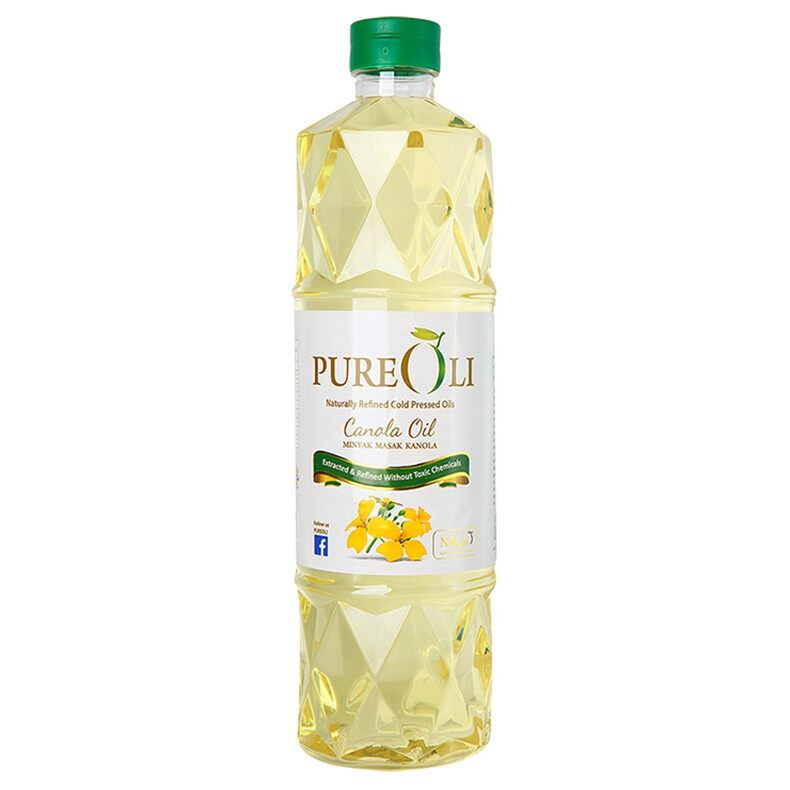 PureOli Canola Cooking Oil (1kg) Naturally Refinded cold Pressed Oil NRCpO -Ideal For Stir-Frying, Grilling, Cooking, Baking