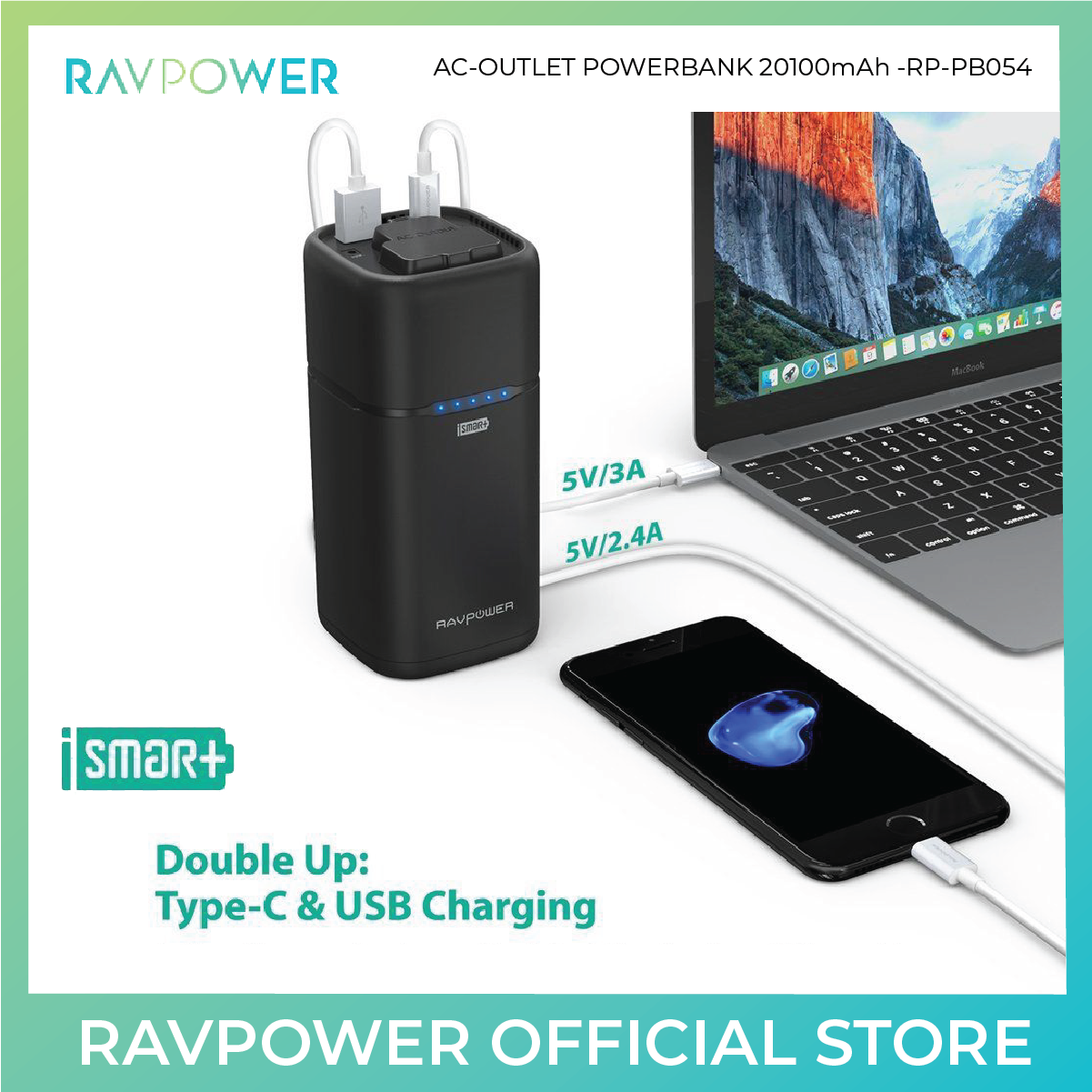 RAVPower AC Outlet Power Bank (RP-PB054) - 20100mAh