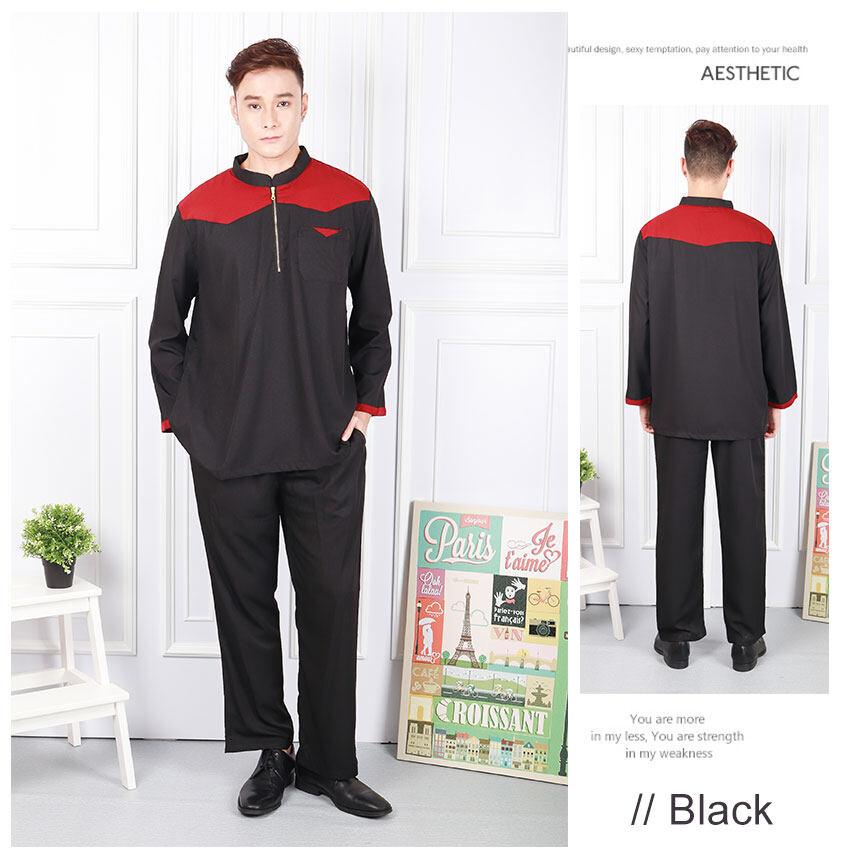 HOT SALE 2020 Raya FashionMen Aziz Front Zip Baju Melayu Modern