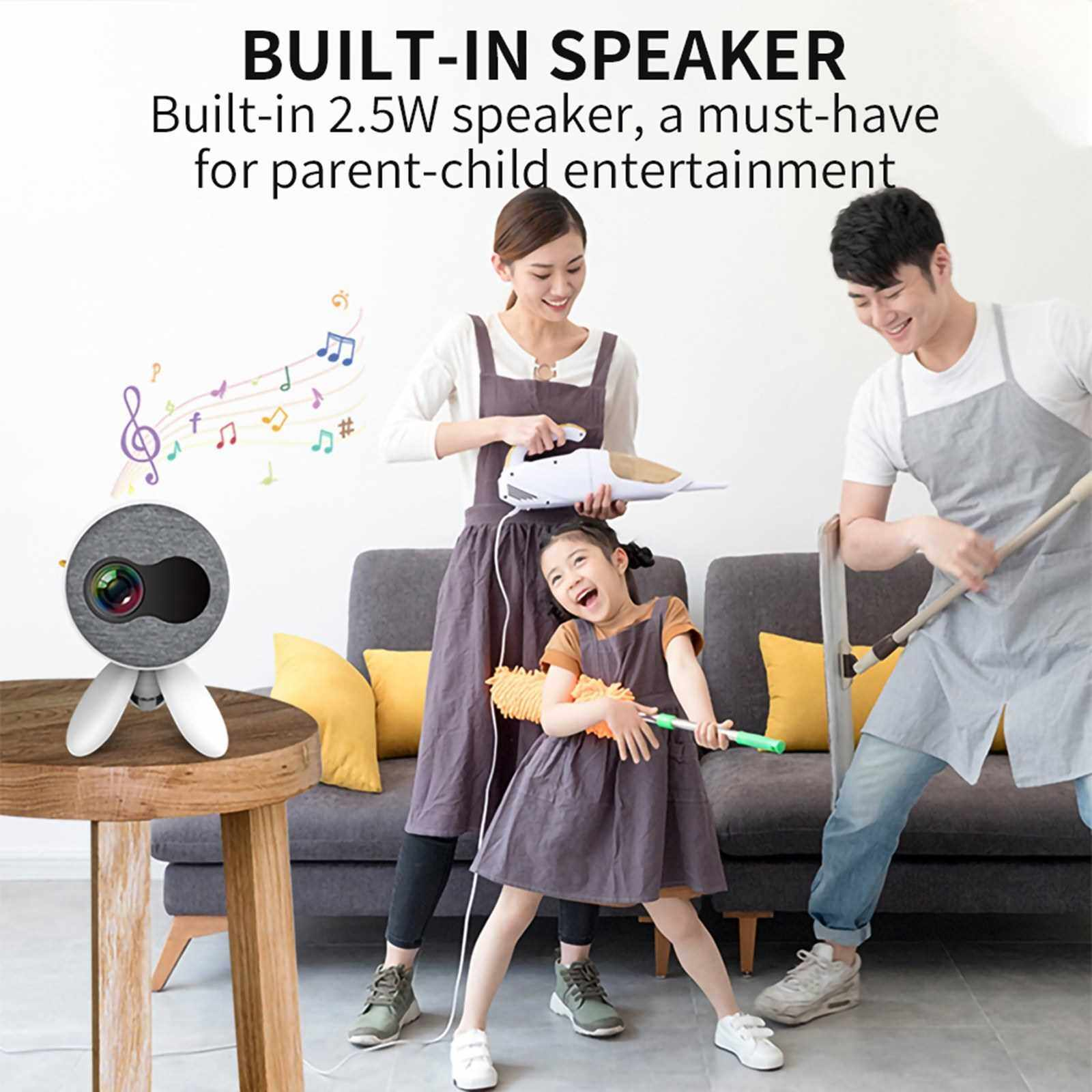 YG220 LED Mini Projector 480*272 Pixels Portable Projector Support 4K 1080P Full HD Android Beamer TV USB AV TF Card Audio Home Media Video Player (Yellow)